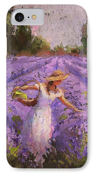 Woman Picking Lavender In A Field In A White Dress - Lady Lavender - Plein Air Painting IPhone Case