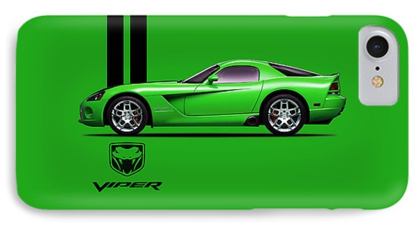 Dodge Viper Snake Green IPhone Case by Mark Rogan