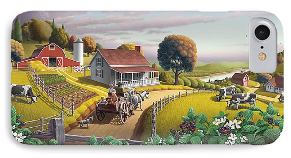 Appalachian Blackberry Patch Rustic Country Farm Folk Art Landscape - Rural Americana - Peaceful IPhone Case by Walt Curlee