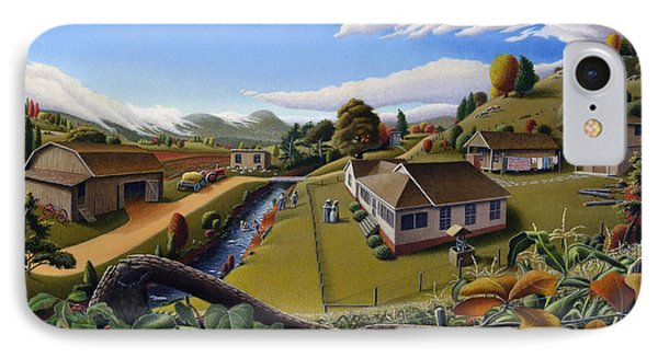 Appalachia Summer Farming Landscape - Appalachian Country Farm Life Scene - Rural Americana IPhone Case by Walt Curlee