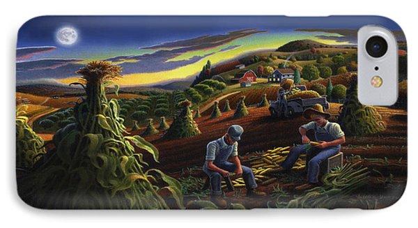 Autumn Farmers Shucking Corn Appalachian Rural Farm Country Harvesting Landscape - Harvest Folk Art IPhone Case by Walt Curlee