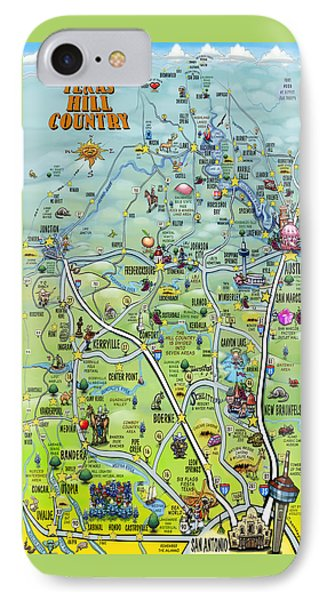 Texas Hill Country Cartoon Map IPhone Case