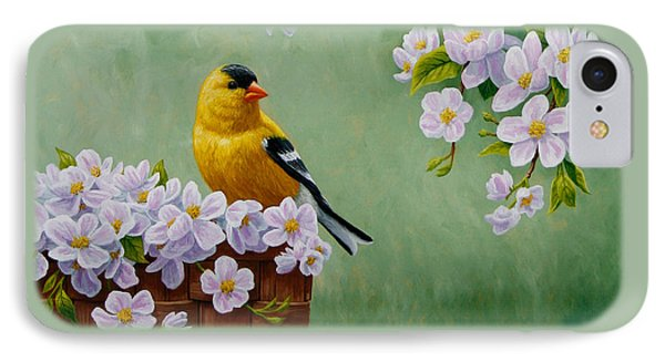 Goldfinch Blossoms Greeting Card 3 Phone Case by Crista Forest