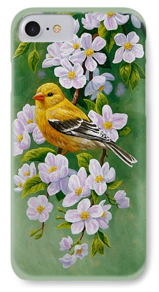 Goldfinch Blossoms Greeting Card 2 IPhone Case by Crista Forest