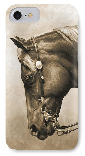Horse iPhone 7 Case - Western Horse Painting In Sepia by Crista Forest