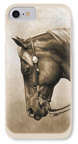 Western Horse Painting In Sepia IPhone 7 Case by Crista Forest