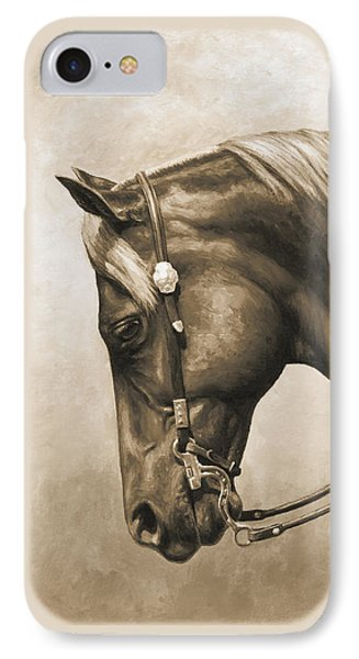 Western Horse Painting In Sepia IPhone Case