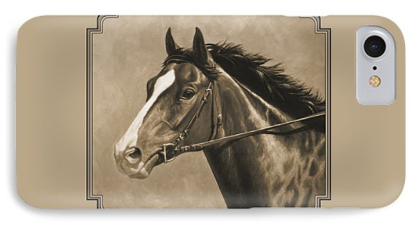 Racehorse Painting In Sepia IPhone Case by Crista Forest