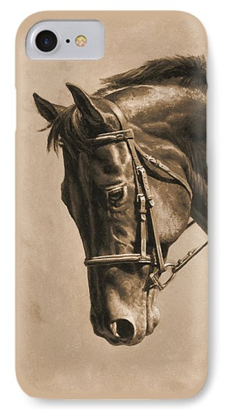 Horse Painting - Focus In Sepia IPhone Case