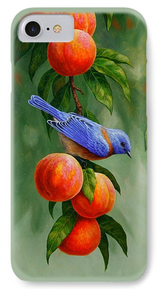 Bluebird And Peaches Greeting Card 1 IPhone Case by Crista Forest
