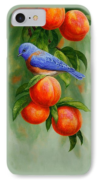 Bluebird And Peaches Greeting Card 2 IPhone Case by Crista Forest