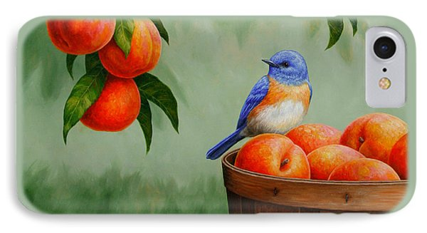 Bluebird And Peaches Greeting Card 3 IPhone Case by Crista Forest