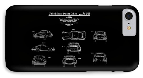 Porsche 911 Patent IPhone Case by Mark Rogan