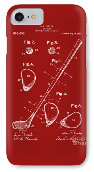 1910 Golf Club Patent Artwork Red IPhone Case by Nikki Marie Smith