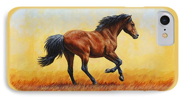 Running Horse - Evening Fire IPhone Case by Crista Forest