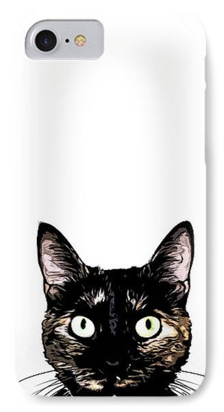 Peeking Cat IPhone Case by Nicklas Gustafsson