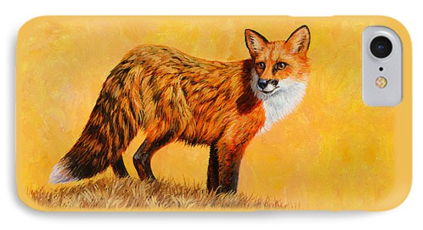Red Fox Painting - Looking Back IPhone Case