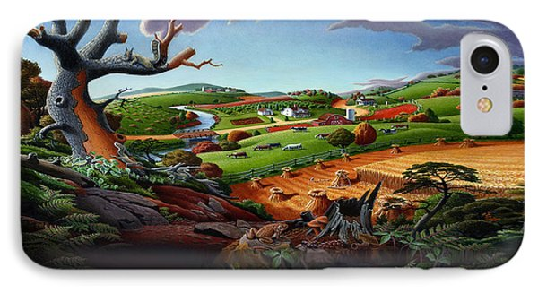 Appalachian Fall Thanksgiving Wheat Field Harvest Farm Landscape Painting - Rural Americana - Autumn IPhone Case