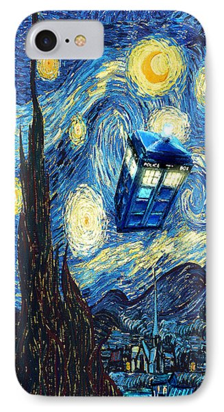 Weird Flying Phone Booth Starry The Night IPhone Case by Lugu Poerawidjaja