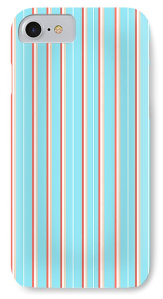 Blue Stripe Pattern IPhone Case by Christina Rollo