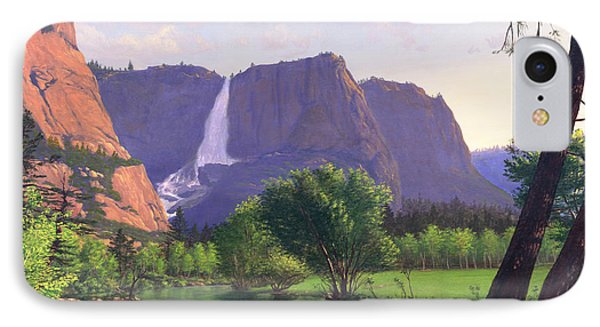 Mountains Waterfall Stream Western Mountain Landscape Oil Painting Phone Case by Walt Curlee