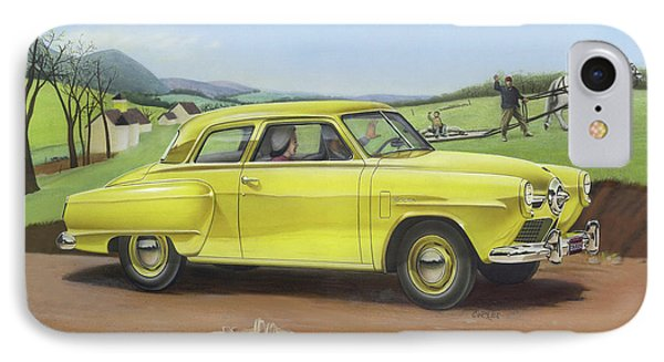 Studebaker Champion Antique Americana Nostagic Rustic Rural Farm Country Auto Car Painting IPhone Case by Walt Curlee