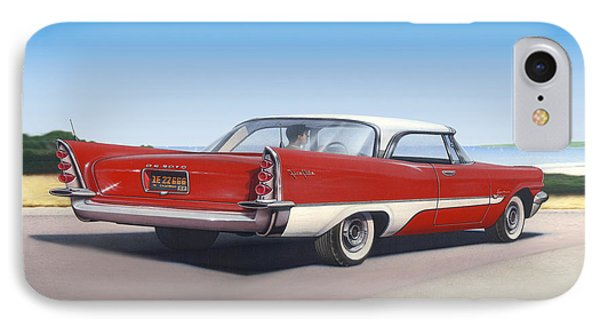 1957 De Soto Car Nostalgic Rustic Americana Antique Car Painting Red  IPhone Case by Walt Curlee