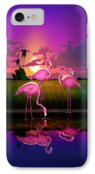 Flamingoes Flamingos Tropical Sunset Landscape Florida Everglades Large Hot Pink Purple Print IPhone Case by Walt Curlee
