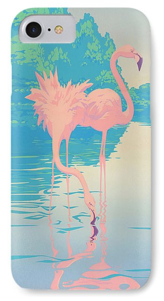 abstract Pink Flamingos retro pop art nouveau tropical bird 80s 1980s florida painting print IPhone Case by Walt Curlee