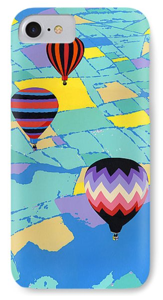 Abstract Hot Air Balloons - Ballooning - Pop Art Nouveau Retro Landscape - 1980s Decorative Stylized IPhone Case