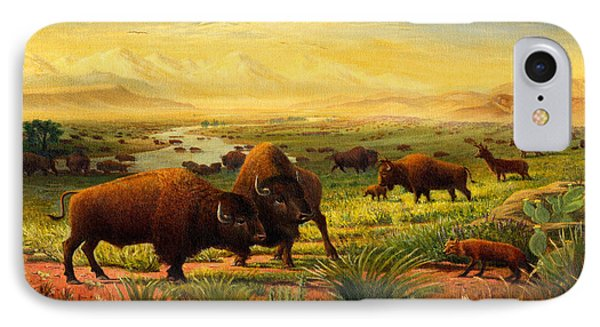 Buffalo Fox Great Plains Western Landscape Oil Painting - Bison - Americana - Square Format IPhone Case by Walt Curlee