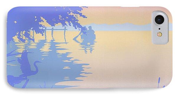 abstract tropical boat Dock Sunset large pop art nouveau retro 1980s florida landscape seascape Phone Case by Walt Curlee