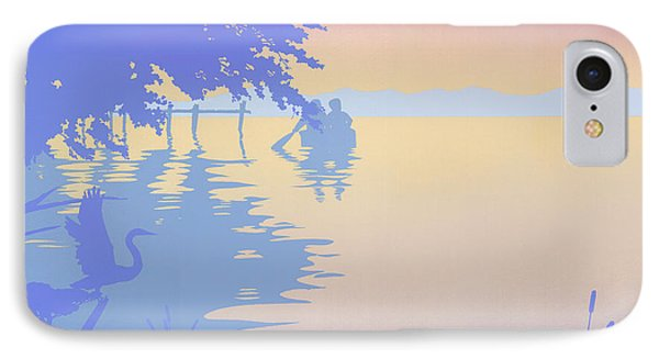 abstract tropical boat Dock Sunset large pop art nouveau retro 1980s florida landscape seascape IPhone Case
