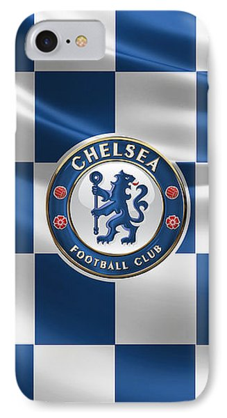 Chelsea F C - 3 D Badge Over Flag IPhone Case by Serge Averbukh