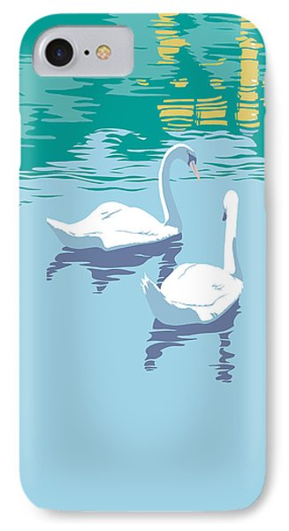 Abstract Swans Bird Lake Pop Art Nouveau Retro 80s 1980s Landscape Stylized Large Painting  IPhone Case by Walt Curlee