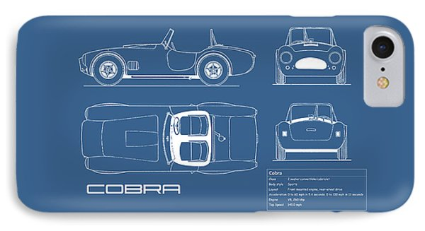 Ac Cobra Blueprint IPhone 7 Case by Mark Rogan
