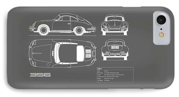 Porsche 356 C Blueprint IPhone Case