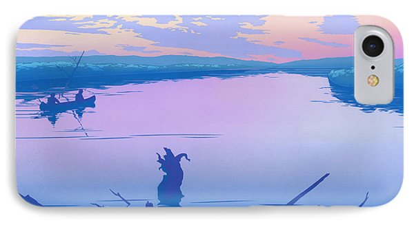 abstract people Canoeing river sunset landscape 1980s pop art nouveau retro stylized painting print Phone Case by Walt Curlee