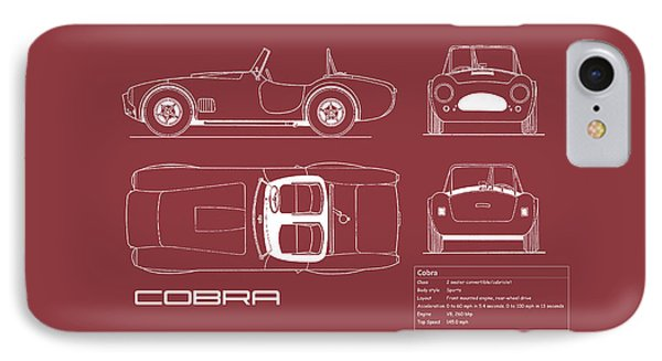 Ac Cobra Blueprint - Red IPhone 7 Case by Mark Rogan
