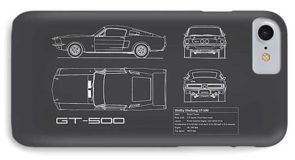 Shelby Mustang Gt500 Blueprint - Red IPhone Case by Mark Rogan