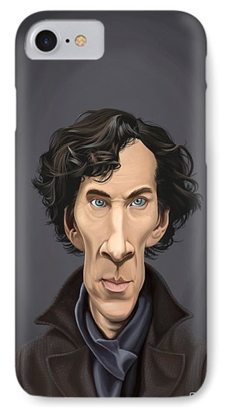IPhone Case featuring the drawing Celebrity Sunday - Benedict Cumberbatch by Rob Snow