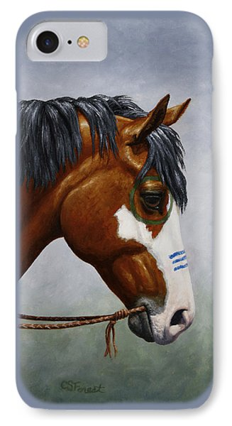 Bay Native American War Horse IPhone Case by Crista Forest