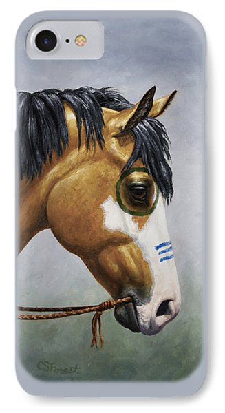 Buckskin Native American War Horse IPhone Case by Crista Forest