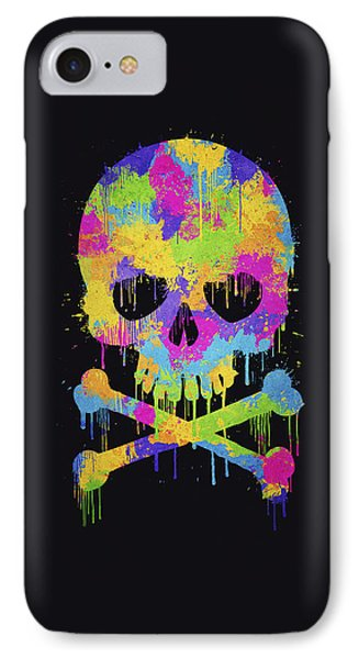 Abstract Trendy Graffiti Watercolor Skull  IPhone Case