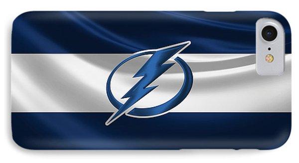 Tampa Bay Lightning - 3 D Badge Over Silk Flag IPhone Case