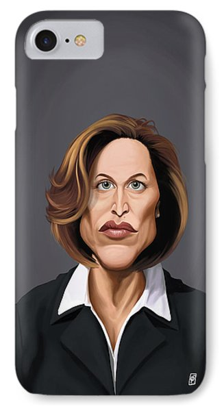 Celebrity Sunday - Gillian Anderson IPhone Case by Rob Snow