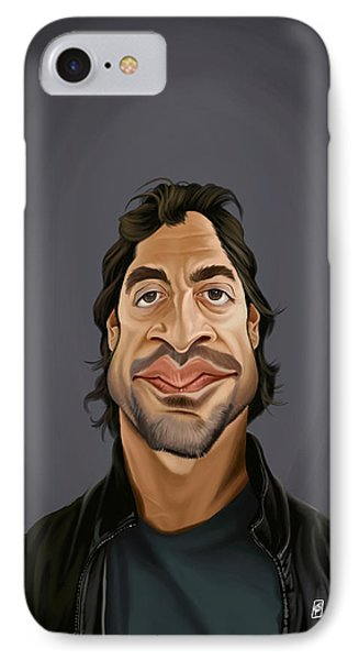 IPhone Case featuring the drawing Celebrity Sunday - Javier Bardem by Rob Snow