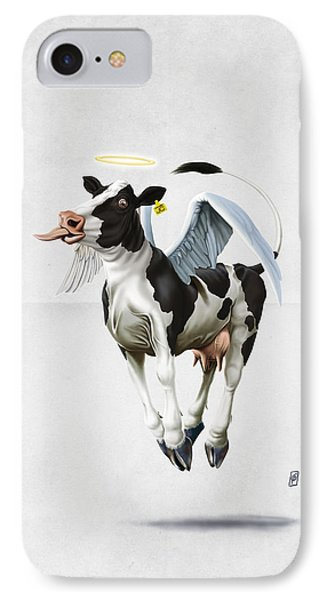IPhone Case featuring the drawing Holy Cow Wordless by Rob Snow