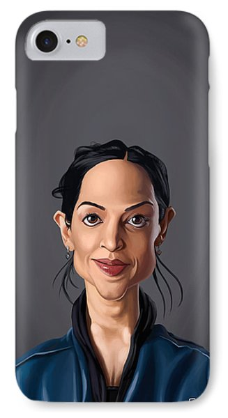 IPhone Case featuring the drawing Celebrity Sunday - Archie Panjabi by Rob Snow