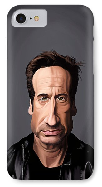 IPhone Case featuring the drawing Celebrity Sunday - David Duchovny by Rob Snow